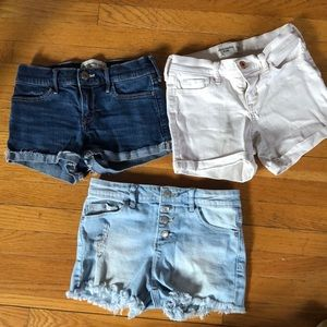Three pairs size 11/12 girls Jean shorts.